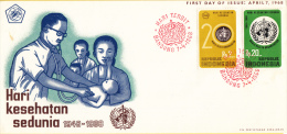 Indonesië - FDC 7-4-1968 - 20e Verjaardag Van De Wereld Gezondheidsorganisatie - Zonnebloem 606 - 607 - Indonesien