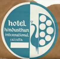 Etiquette De Bagage Autoadhésive - Hotel Hindusthan International - Calcutta (Inde) - Etiketten Van Hotels