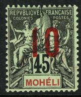 French:Moheli SG21a 1912 10c On 45c Fresh MLH