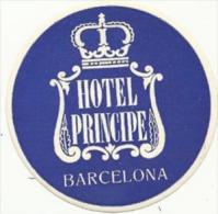 Etiquette De Bagage - Hotel Principe - Barcelona (Espagne) - Hotel Labels