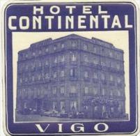 Etiquette De Bagage - Hotel Continental - Vigo (Espagne) - Hotel Labels