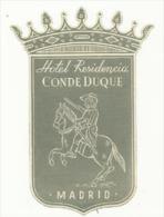 Etiquette De Bagage - Hotel Residencia Conde Duque - Madrid (Espagne) - Etiquetas De Hotel