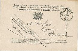 Carte Postale De Service - Dienst-briefkaart - Andenne 1897 - Documents Historiques