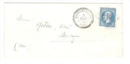 Lettre De BRETONCELLES, Orne, Cachet PERLE Du 3 Décembre 1864, GC 615 Sur N° 22, INDICE 10 > Mortagne / Huine, Cote 70 E - 1849-1876: Klassik