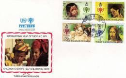 UNO Jahr Des Kindes 1979 Kinder Bildnisse Turks Caicos Insel 431/4 Auf FDC 4€ Geschwister Von Lawrence - Turks E Caicos