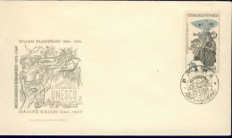 DV6-71 CESKOSLOVENSKO 1964 FDC YV 1329 400th ANNI DEATH OF GALILEO GALILEI, SCIENTIST. - Celebrità