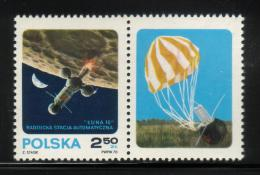 POLAND 1970 AUTOMATIC SPACE STATION LUNA 16 IN ORBIT STAMP & LABEL TYPE 1 NHM Russia USSR ZSSR Cosmos Take Off From Moon - Ongebruikt