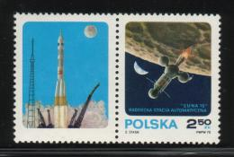 POLAND 1970 AUTOMATIC SPACE STATION LUNA 16 IN ORBIT STAMP & LABEL TYPE 2 NHM Russia USSR ZSSR Cosmos Take Off From Moon - Ongebruikt
