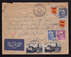 Lettre Avion Pour Les U.S.A. / Tarif 99F - Affr. Arbois - Marianne De Gandon - Blasons / BLEVILLE 04.10.1951 - Marcophilie (Lettres)
