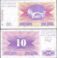 Bosnia & Herzegovina 1992 10 Dinara Banknotes UNC - Bankbiljetten