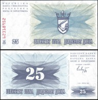 Bosnia & Herzegovina 1992 25 Dinara Banknotes UNC - Bankbiljetten