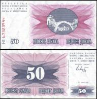 Bosnia & Herzegovina 1992 50 Dinara Banknotes UNC - Unclassified