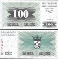 Bosnia & Herzegovina 1992 P13 100 Dinara Banknotes UNC - Bankbiljetten