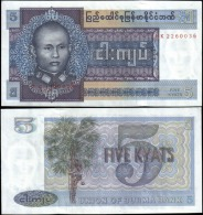 Burma 5 Kyats Banknotes Uncirculated UNC - Unclassified