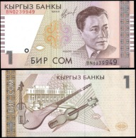 Kyrgyzstan 1 Som Musical Banknotes Uncirculated UNC - Unclassified