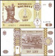 Moldova 2005 1 Leu Banknotes Uncirculated UNC - Banknotes