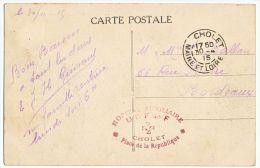 MAINE ET LOIRE CP EN FM 1915 CHOLET HOPITAL AUXILIAIRE UNION DES FEMMES DE FRANCE PLACE DE LA REPUBLIQUE CHOLET - 1877-1920: Semi-moderne Periode