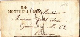 10178# 24 MONTBELLIARD 48 * 10 Mm LETTRE Datée De 1825 DOUBS Pour BESANCON - Marcophilie (Lettres)
