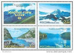 Russia 2004 Block World Natural Heritage Golden Mountains Of Altai Lake River Water Region View Stamps Mi 1217-1219Zf - Umweltschutz Und Klima