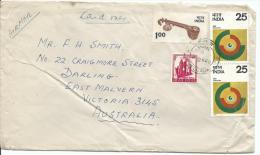 1976 Envelope Marked Card Only To Australia Roughly Opened And Torn Still Nice Postmark Ties All  4 Stamps - India