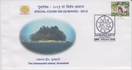 India  2013  The Umananda Island, Guwahati  Special Cover # 49355  Indien Inde - Islands