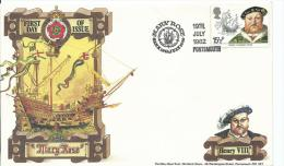 1982 15 1/2p Henry V111  FDC Portsmith 19th July 1982 Special Mary Rose Trust FDC Limited Issue - 1981-1990 Em. Décimales