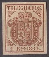 ESTGF01-L2153TESSC.Espagne . Spain.ESCUDO DE ESPAÑA.TELEGRAFOS  DE ESPAÑA .1864 (Ed 1*)  MAGNIFICO.Certificado. - Escudos De Armas