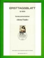 GERMANY, 1979, Ersttagblatt Nr 12,  Anne Frank - [7] Federal Republic