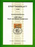 GERMANY, 1980, Ersttagblatt Nr 3,  Stadt Und Bistum Osnabrueck - [7] Federal Republic