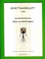 GERMANY, 1980, Ersttagblatt Nr 4,  Goetz Von Berlichingen - [7] Federal Republic