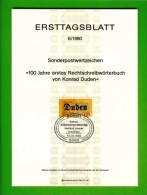 GERMANY, 1980, Ersttagblatt Nr 6,  Rechtschreibwoerterbuch - [7] Federal Republic