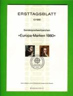 GERMANY, 1980, Ersttagblatt Nr 12,  Europa-Marken - [7] Federal Republic