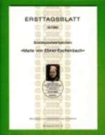 GERMANY, 1980, Ersttagblatt Nr 19,  Marie Von Ebner-Eschenbach - [7] Federal Republic