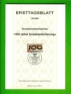 GERMANY, 1981, Ersttagblatt Nr 25, 100 Jahre Socialversicherung - [7] Federal Republic