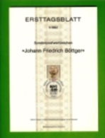 GERMANY, 1982, Ersttagblatt Nr 1, Johan Friedrich Boettger - [7] Federal Republic