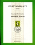 GERMANY, 1982, Ersttagblatt Nr 8,  Wilhelm Busch - [7] Federal Republic