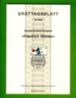 GERMANY, 1982, Ersttagblatt Nr 20,  Friedrich Woehler - [7] Federal Republic