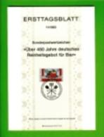GERMANY, 1983, Ersttagblatt Nr 11,  Reinheitsgebot Fuer Bier - [7] Federal Republic