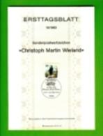 GERMANY, 1983, Ersttagblatt Nr 15,  Christoph Martin Wieland - [7] Federal Republic