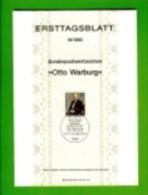 GERMANY, 1983, Ersttagblatt Nr 16,  Otto Warburg - [7] Federal Republic