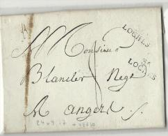 Indre Et Loire - Loches Pour Angers. MP 24x9. Au Verso , Cachet D'arrivée Précurseur D'angers - 1801-1848: Voorlopers XIX
