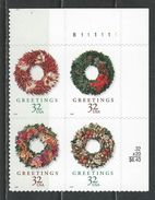USA. Scott # 3249-52 MNH Plate Block Of 4. Christmas Wreaths 1998 - Números De Placas