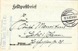 Feldpost WW1: 1. Landsturm Fussartillerie Bataillon (8. Armeekorps) Under Deutsche Feldpost 406 Dtd 17.3.1917 - Letter I - Militaria