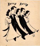 KUNST  F.V.M.  initialen kunstnaar HORSEY HORSEY square dansers  ? -  strip 1938  tekening  chinese inkt