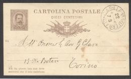 """4546-INTERO POSTALE-10 C.-MILL.84-COMMISSIONE PRIVATA-GIORNALE """"IL COLTIVATORE""""-CASALE MONFERRATO - 1878-00 Umberto I"""