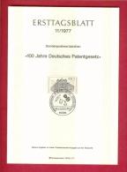 GERMANY-BERLIN 1977, Ersttagblatt Nr 11, Deutsches Patentgesetz - [5] Berlin