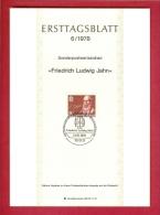 GERMANY-BERLIN 1978, Ersttagblatt Nr 6, Friedrich Ludwig Jahn - [5] Berlin
