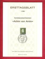 GERMANY-BERLIN 1981, Ersttagblatt Nr. 1, Achim Von Arnim - [5] Berlin