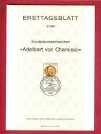 GERMANY-BERLIN 1981, Ersttagblatt Nr. 2, Adelbert Von Chamisso - [5] Berlin