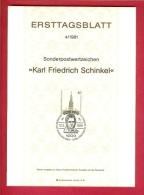 GERMANY-BERLIN 1981, Ersttagblatt Nr. 4, Karl Friedrich Schinkel - [5] Berlin